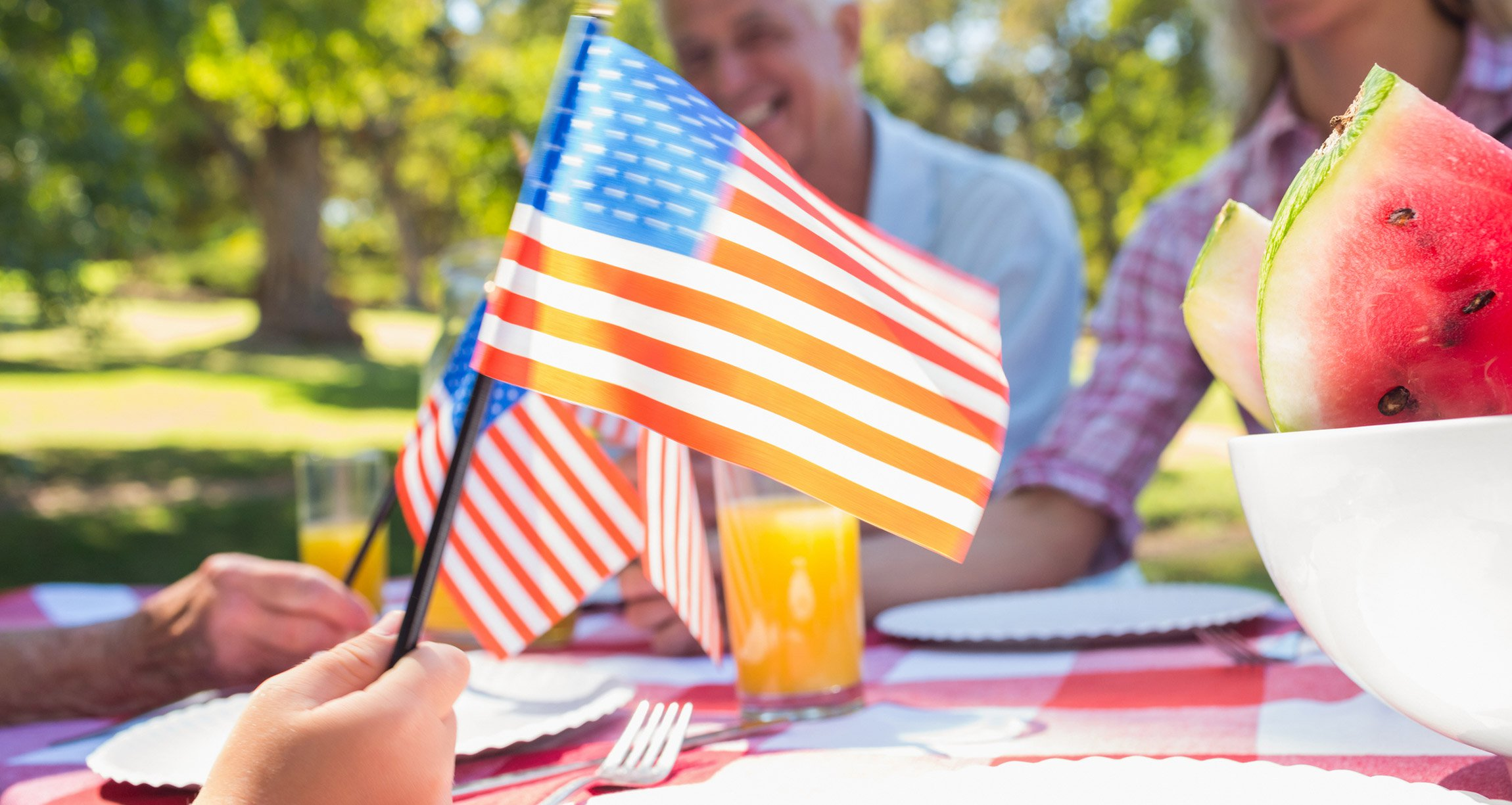 American flag being held by child at a picnic table
