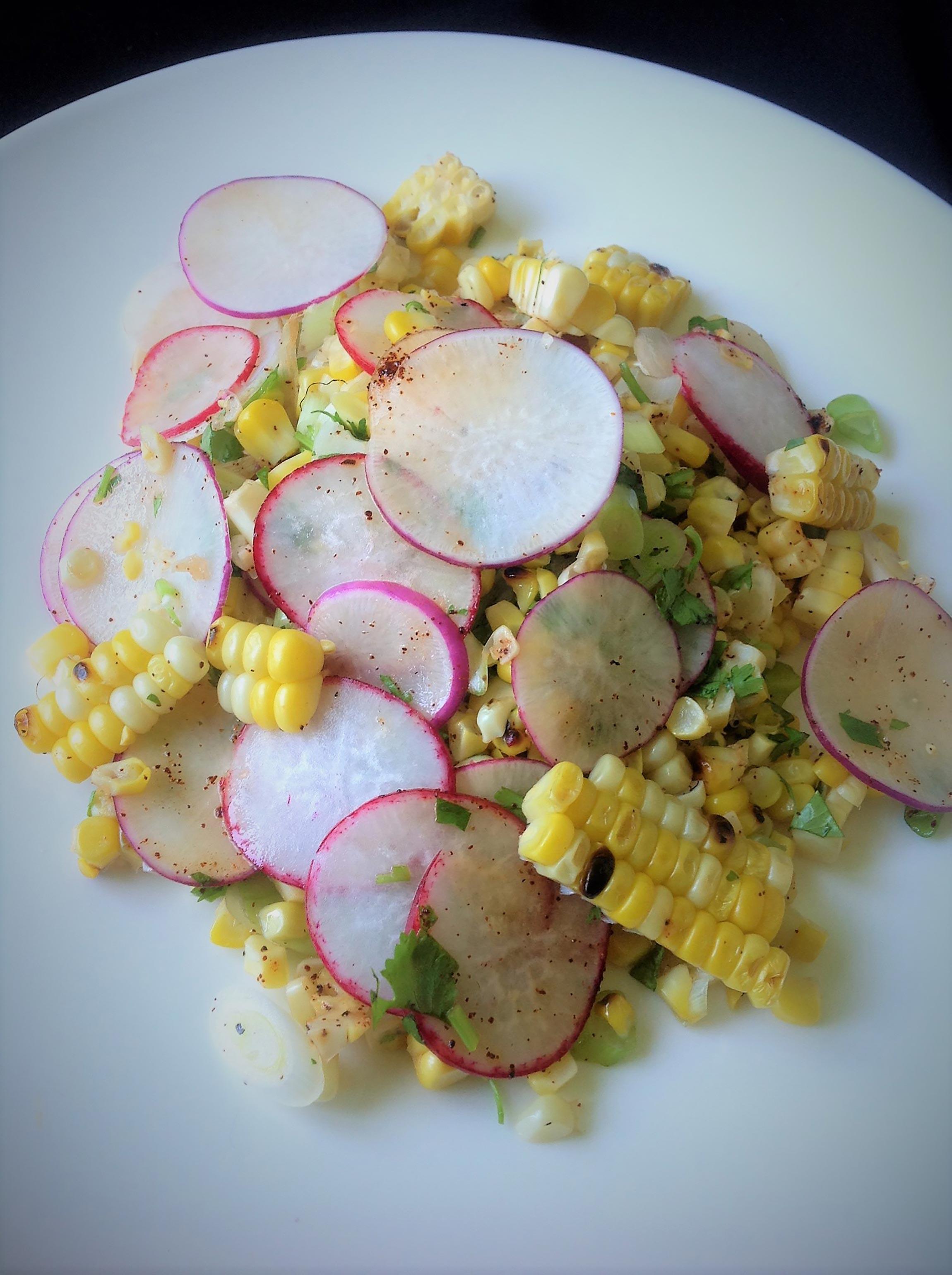 Grilled Corn and Radish Salad
