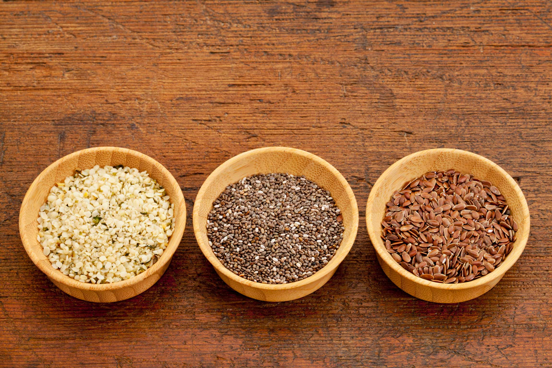 Bowls of seeds - plant-based protein