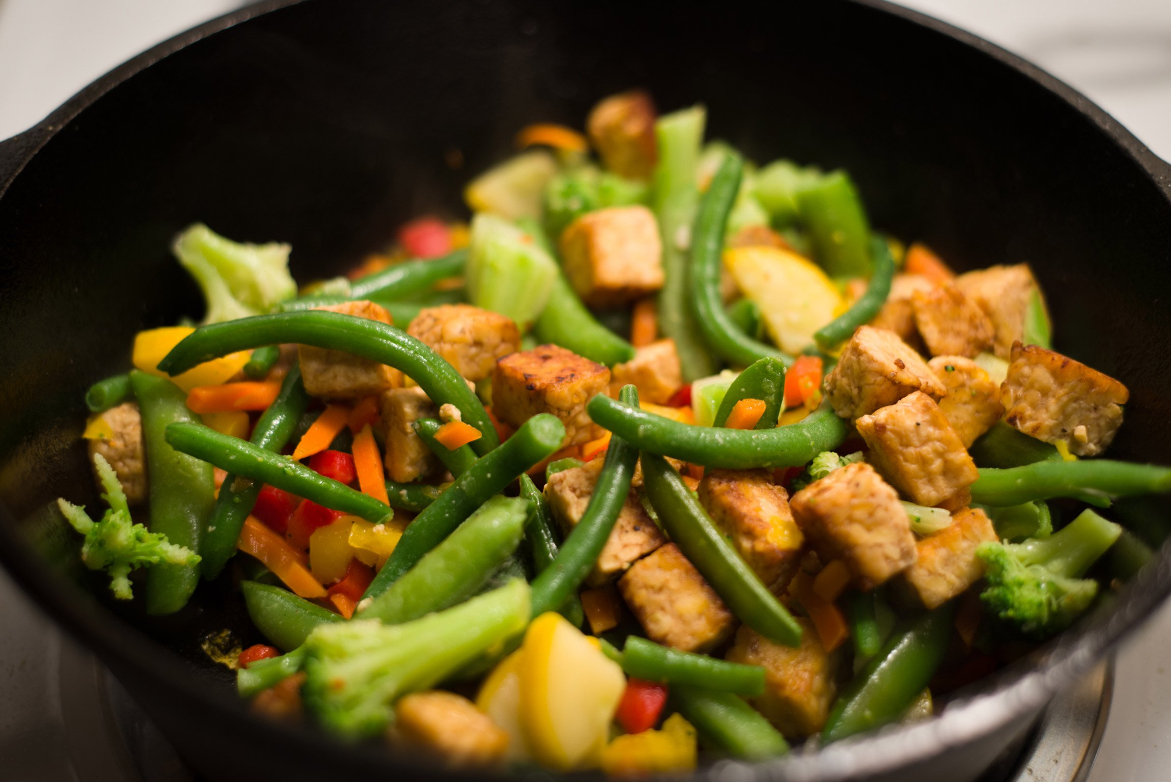 tempeh and vegetable stir fry