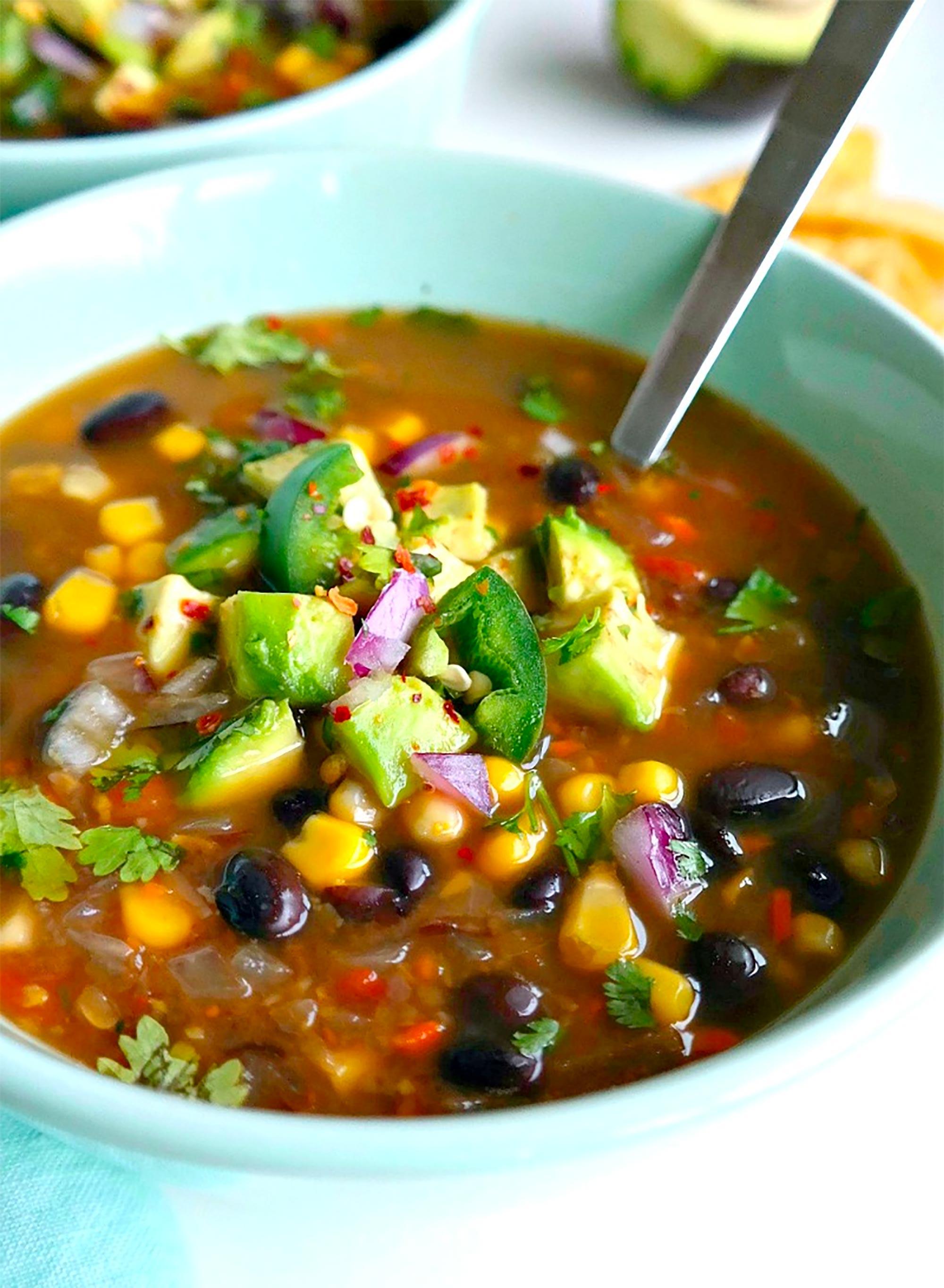 bowl of black bean soup