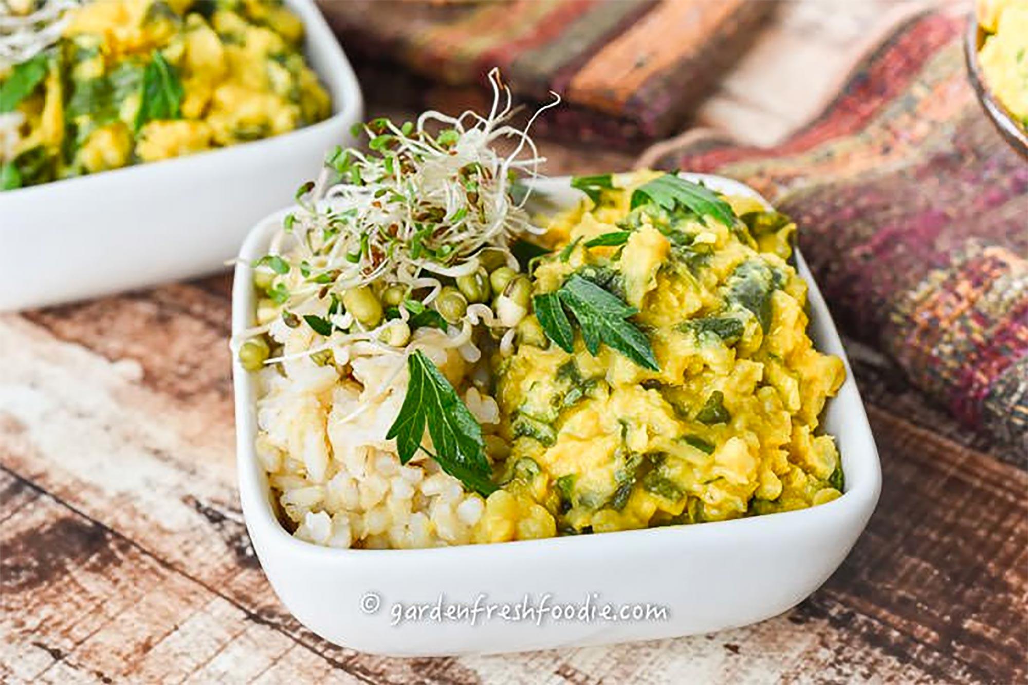 bowl of cauliflower lentil soup