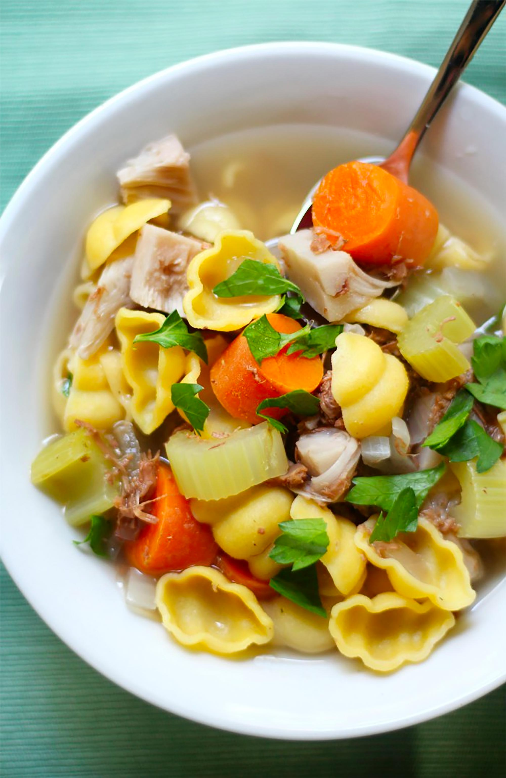 bowl of meatless chicken soup