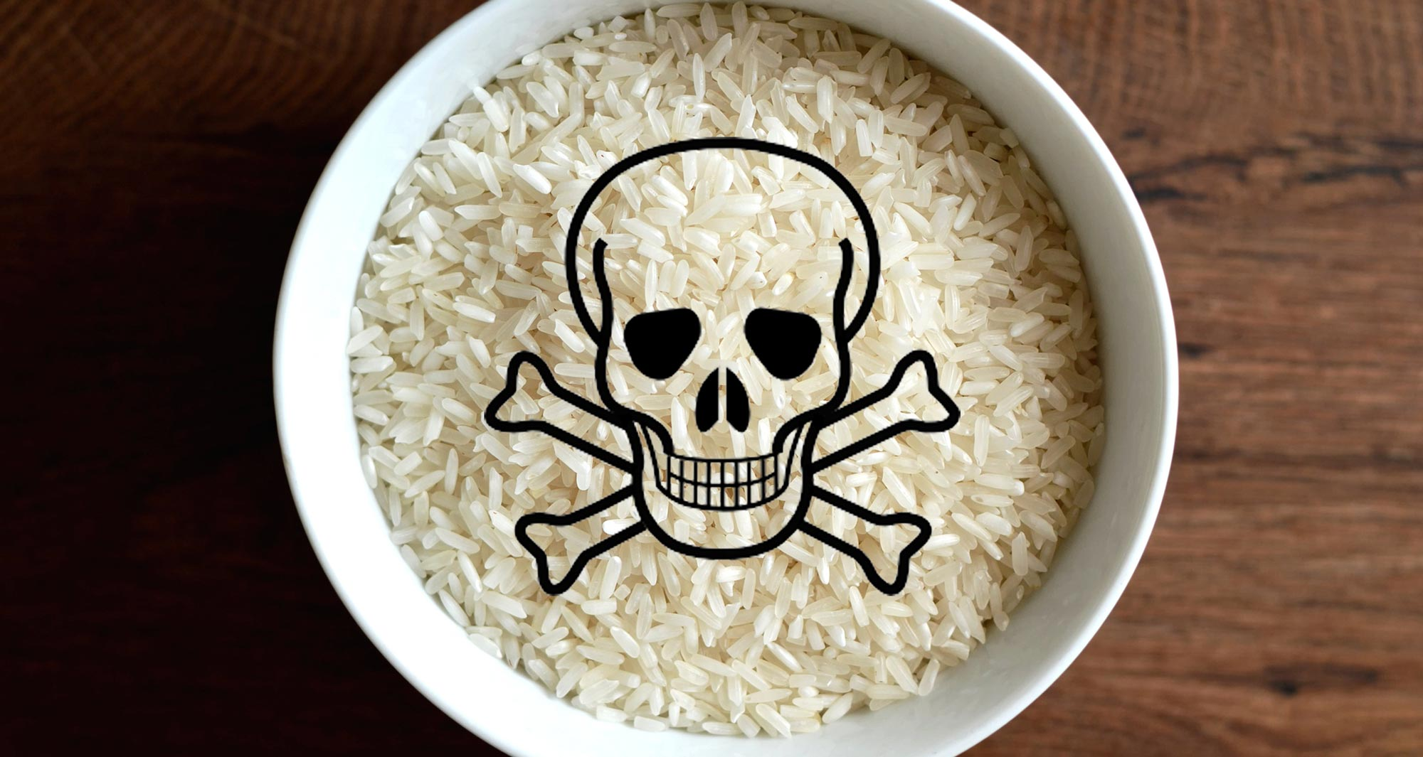 bowl of rice with poison symbol