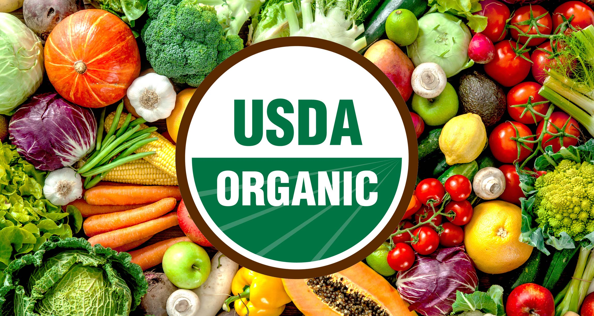 USDA organic logo on top of variety of fruits and vegetables