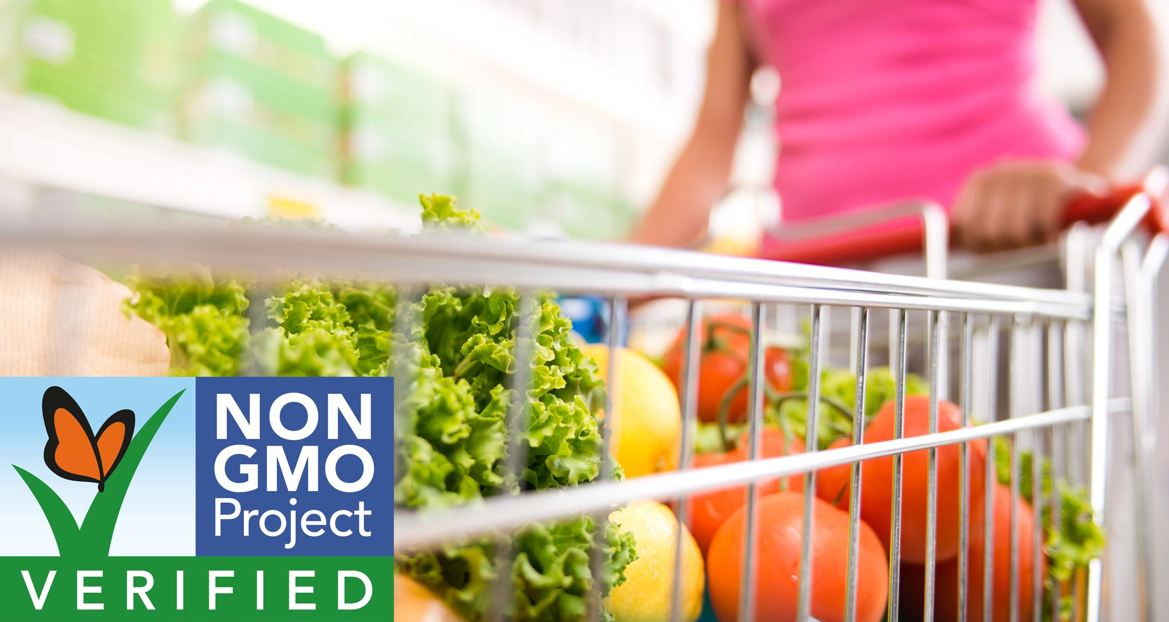 non-GMO Project Verified logo on top of shopping cart of vegetables