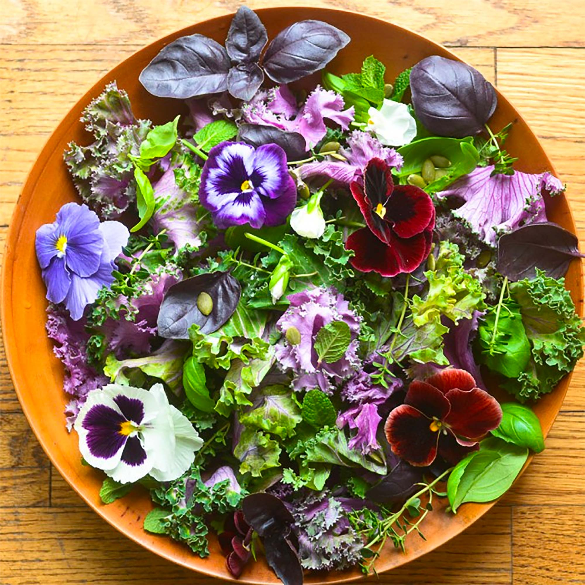 bowl of pansy salad