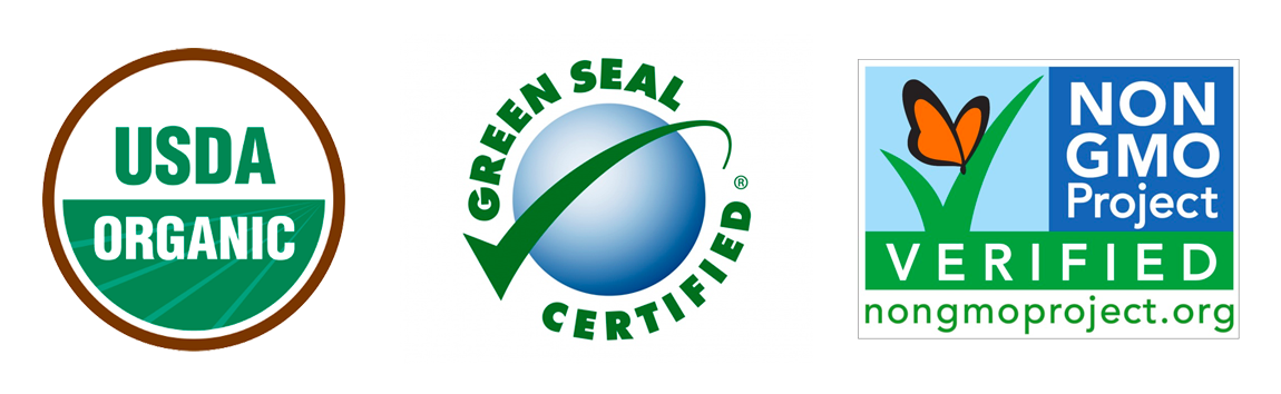 Logos for USDA Organic, Green Seal Certified, Non GMO Project