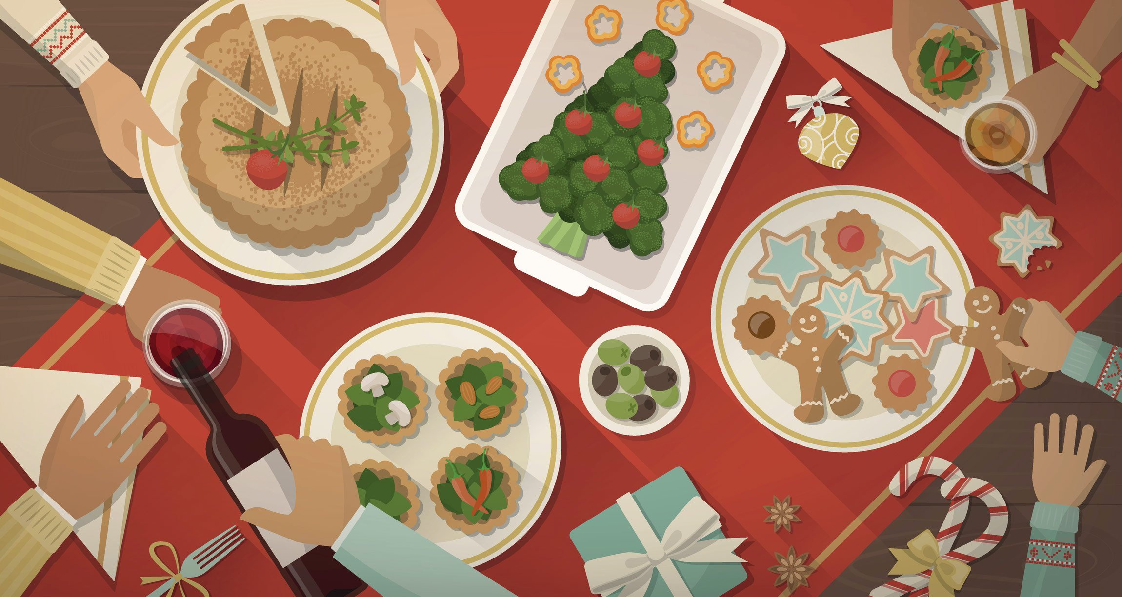 illustrated plant-based christmas table spread