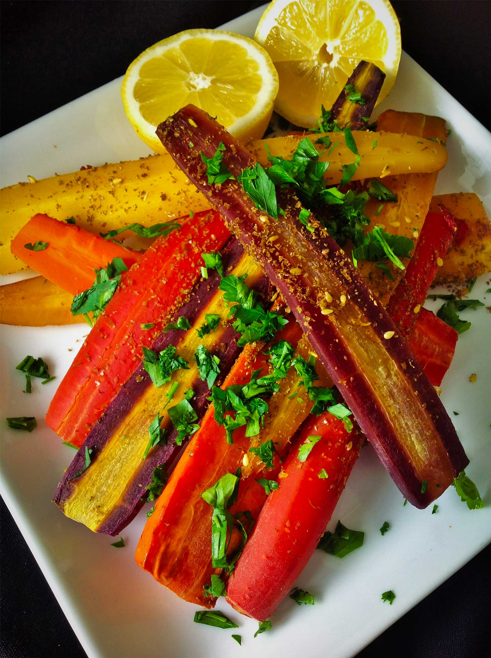 Za'atar Spiced Rainbow Carrots
