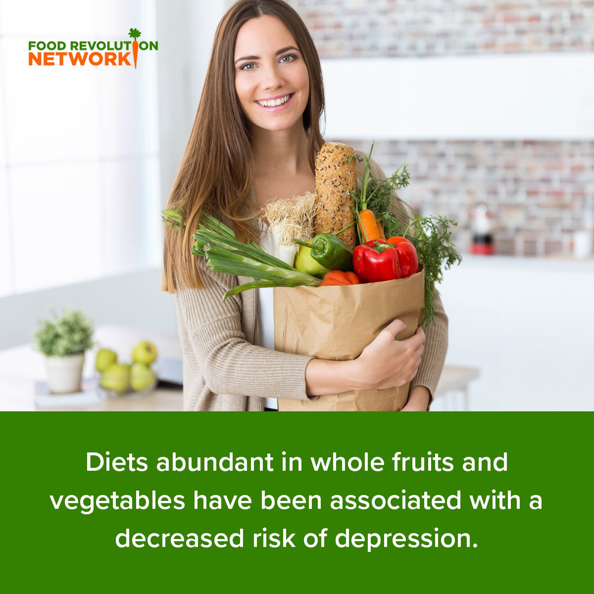 Diets abundant in whole fruits and vegetables have been associated with a decreased risk of depression.