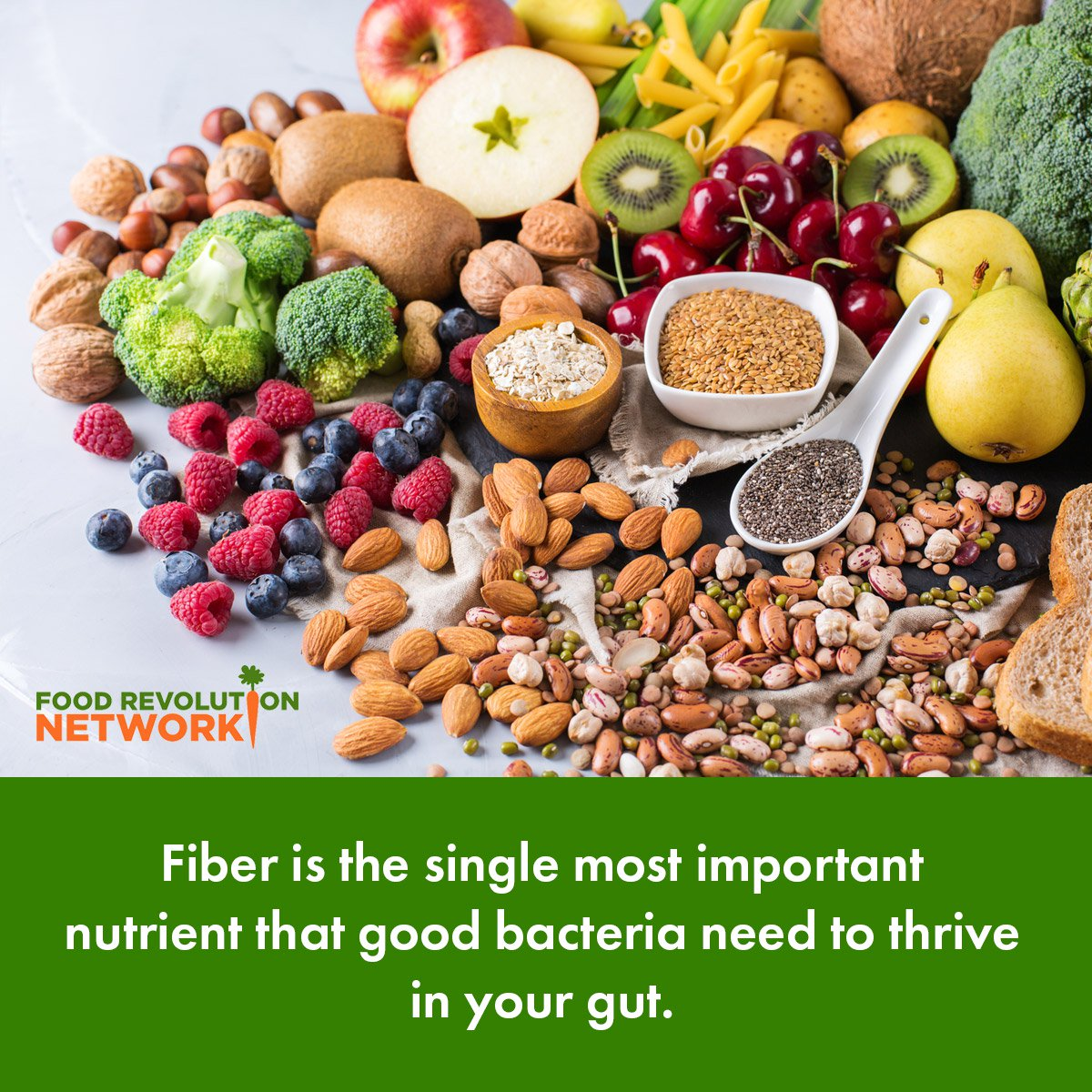 Fiber is the single most important nutrient that good bacteria need to thrive in your gut.