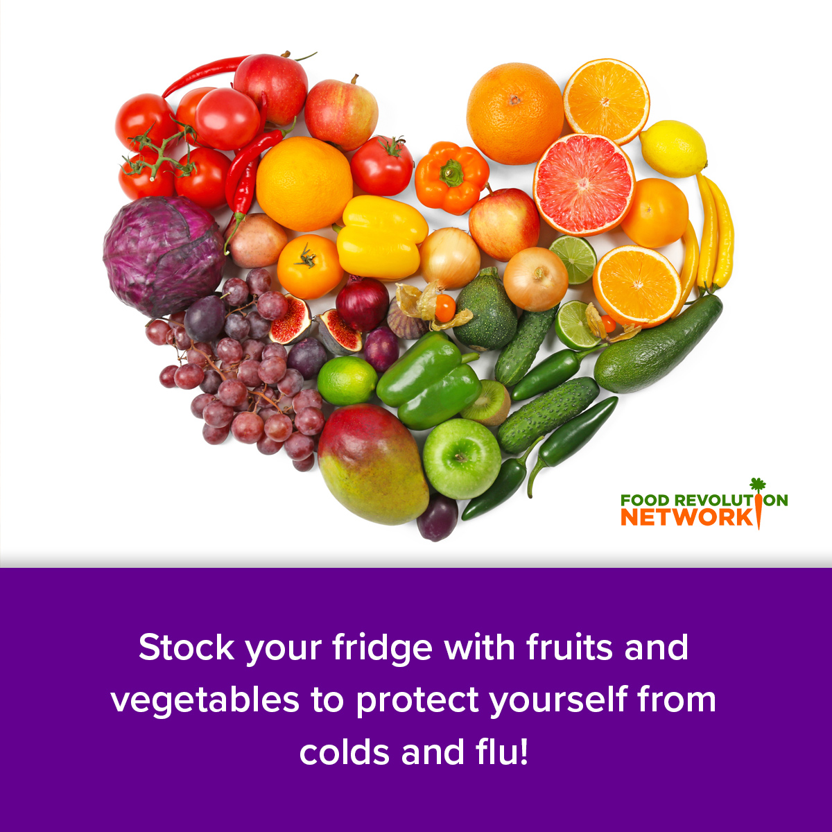 Stock your fridge with fruits and vegetables to protect yourself from colds and flu!