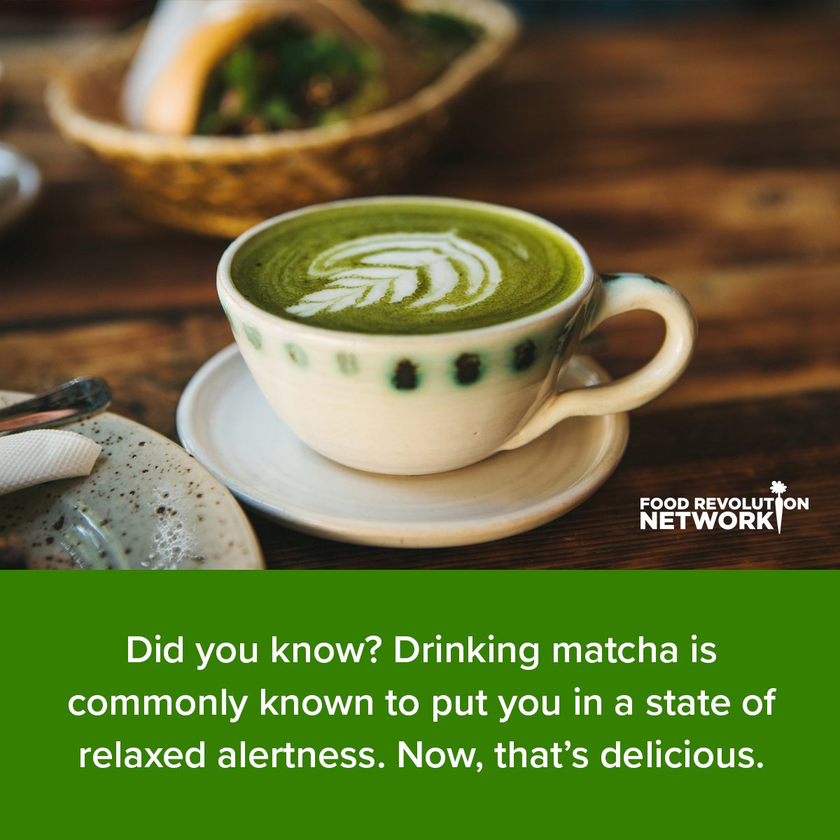 Did you know? Drinking matcha is commonly known to put you in a state of relaxed alertness. Now, that's delicious.