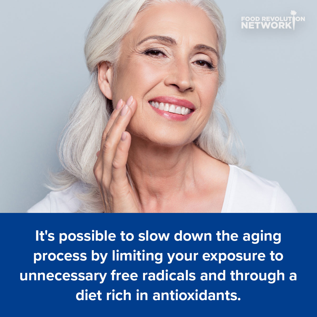 It's possible to slow down the aging process by limiting your exposure to unnecessary free radicals and through a diet rich in antioxidants.