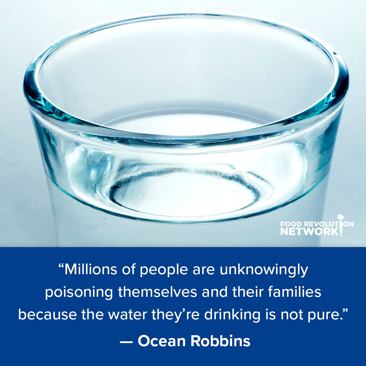"""Millions of people are unknowingly poisoning themselves and their families because the water they're drinking is not pure."" — Ocean Robbins"