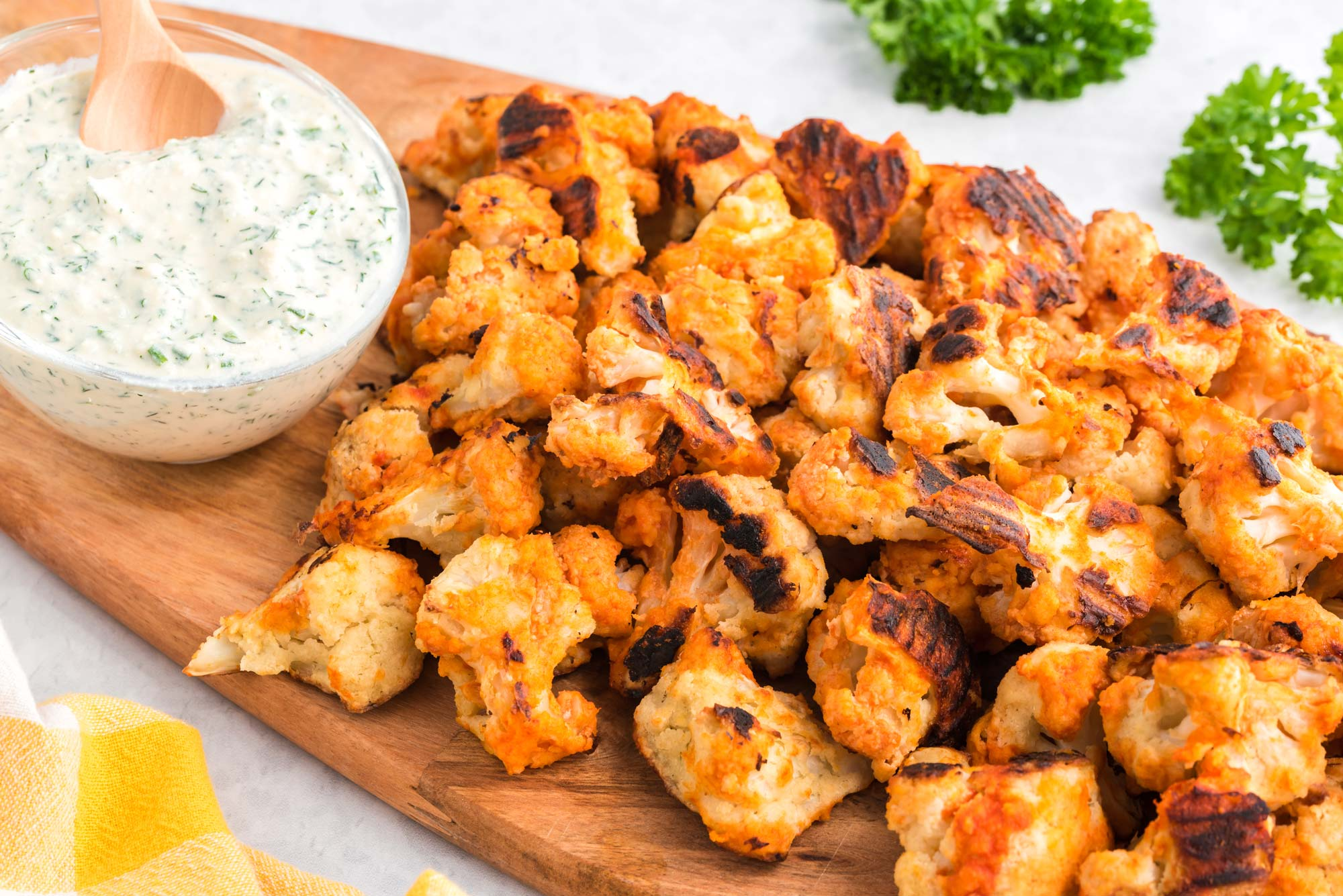 buffalo cauliflower with creamy tofu ranch dressing