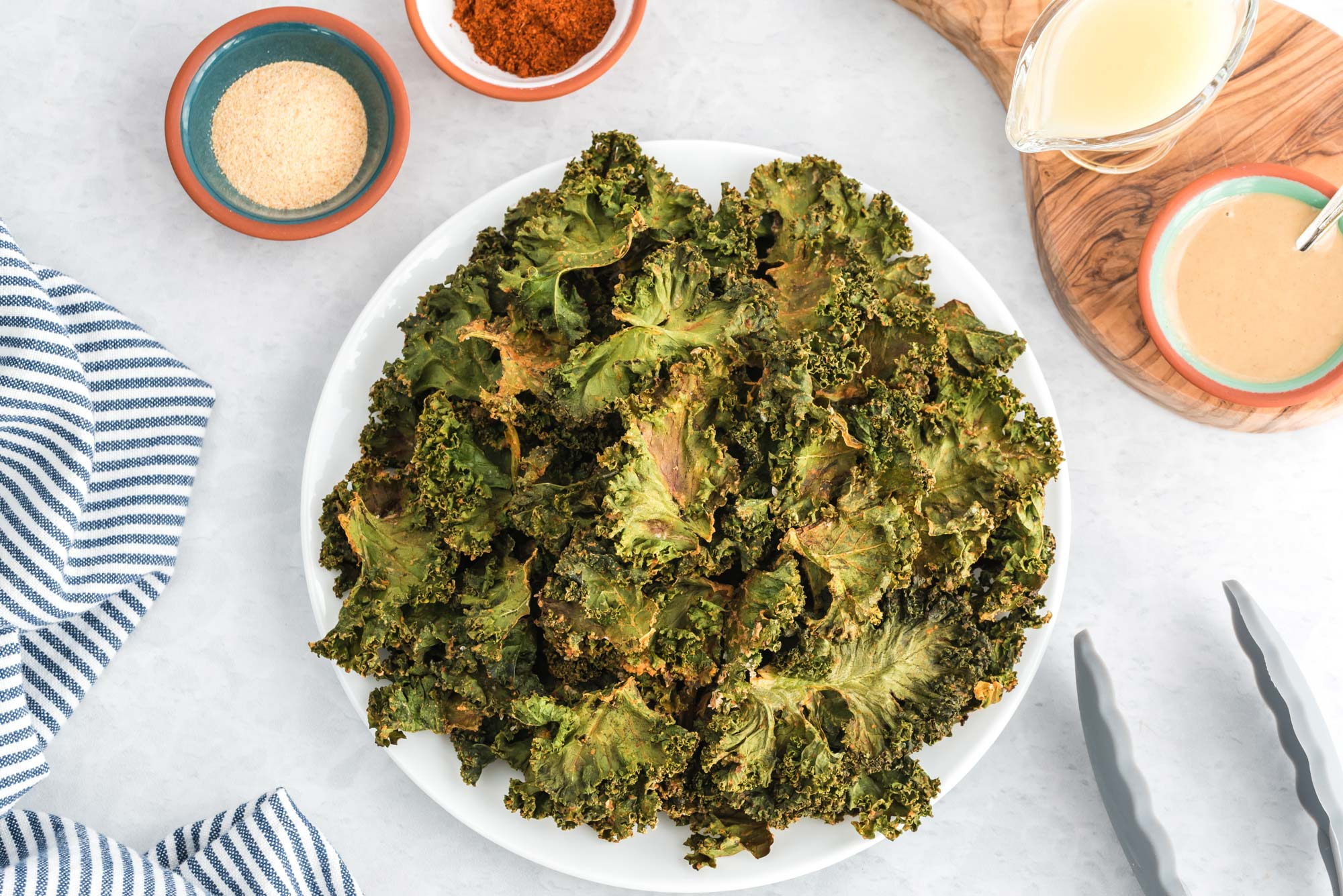 chili lime kale chips on plate
