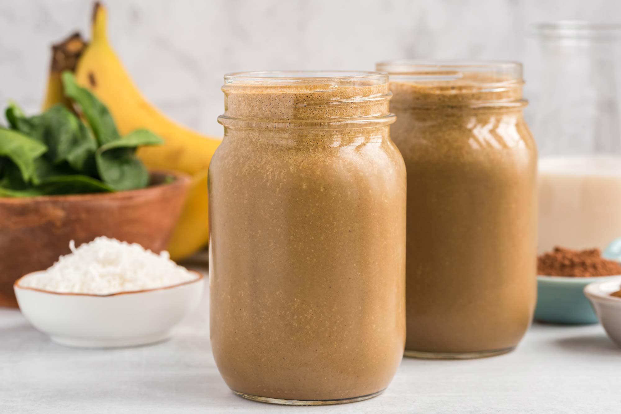 chunky monkey smoothie in mason jars