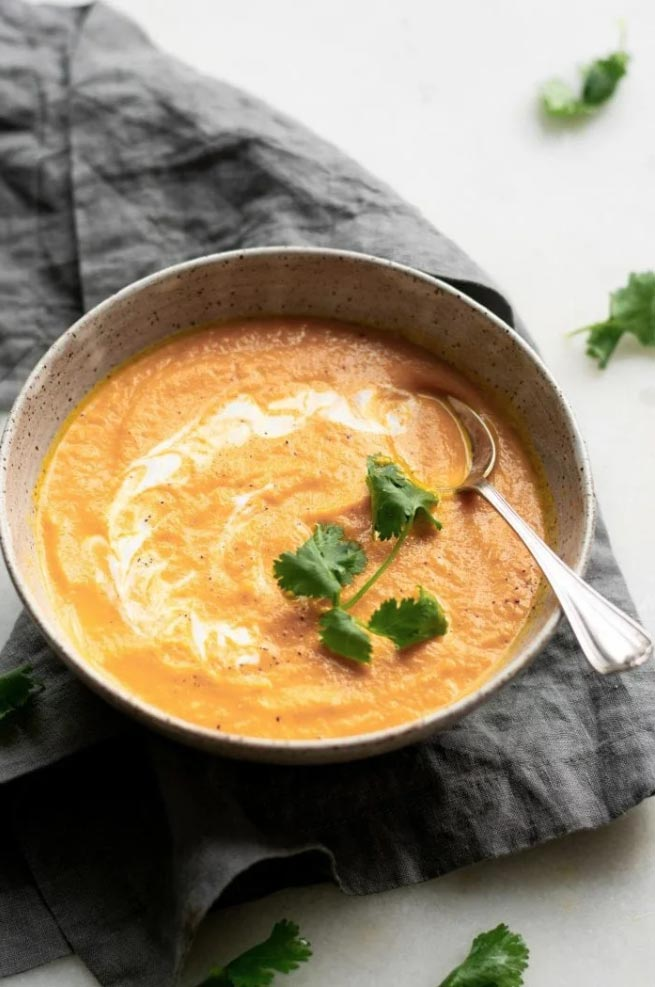 coconut ginger carrot soup in bowl