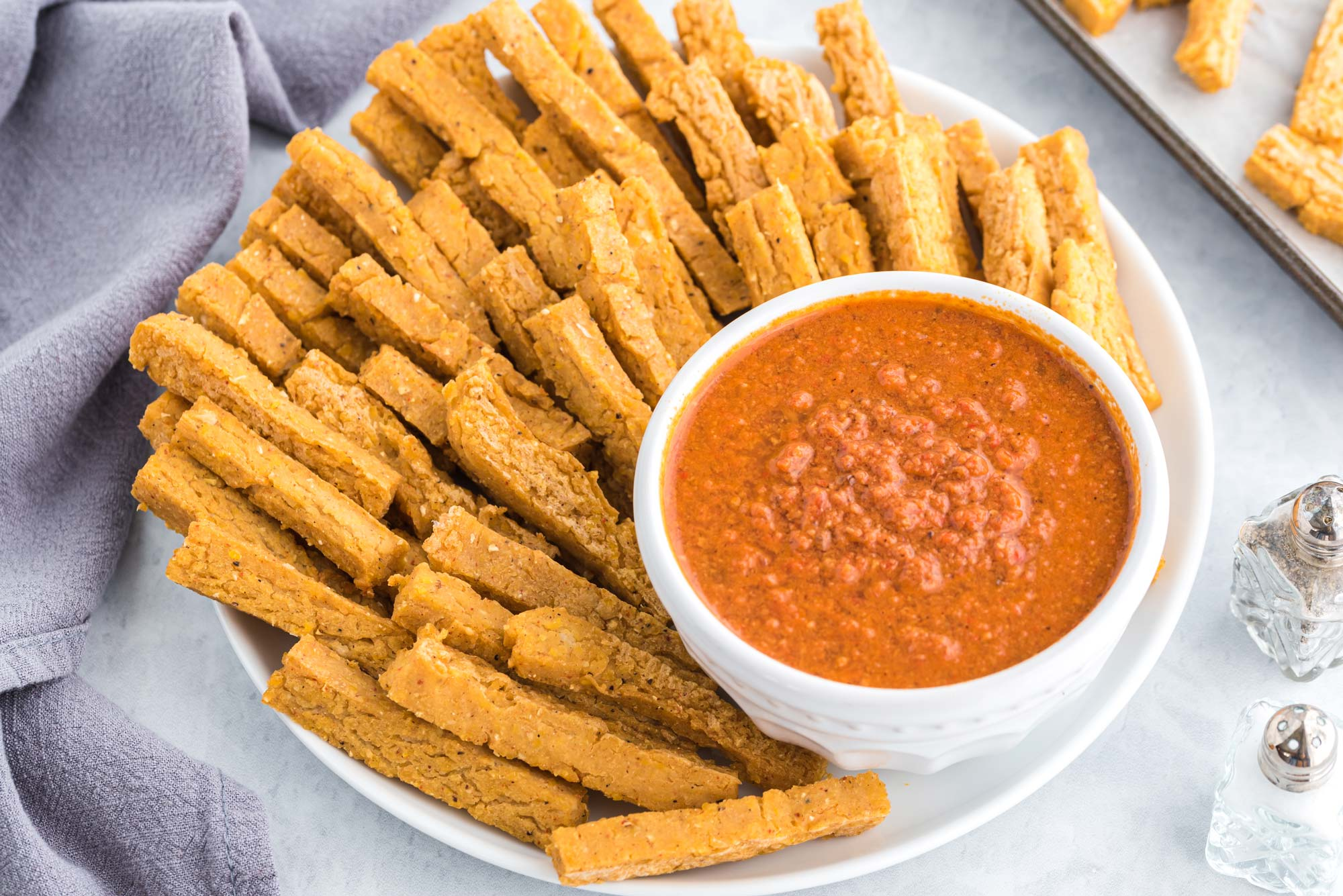 chickpea fries with sweet and smoky romesco sauce