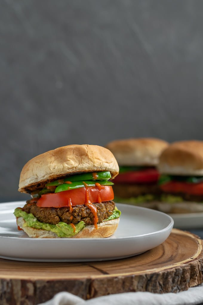Curry seitan and black eyed pea burger