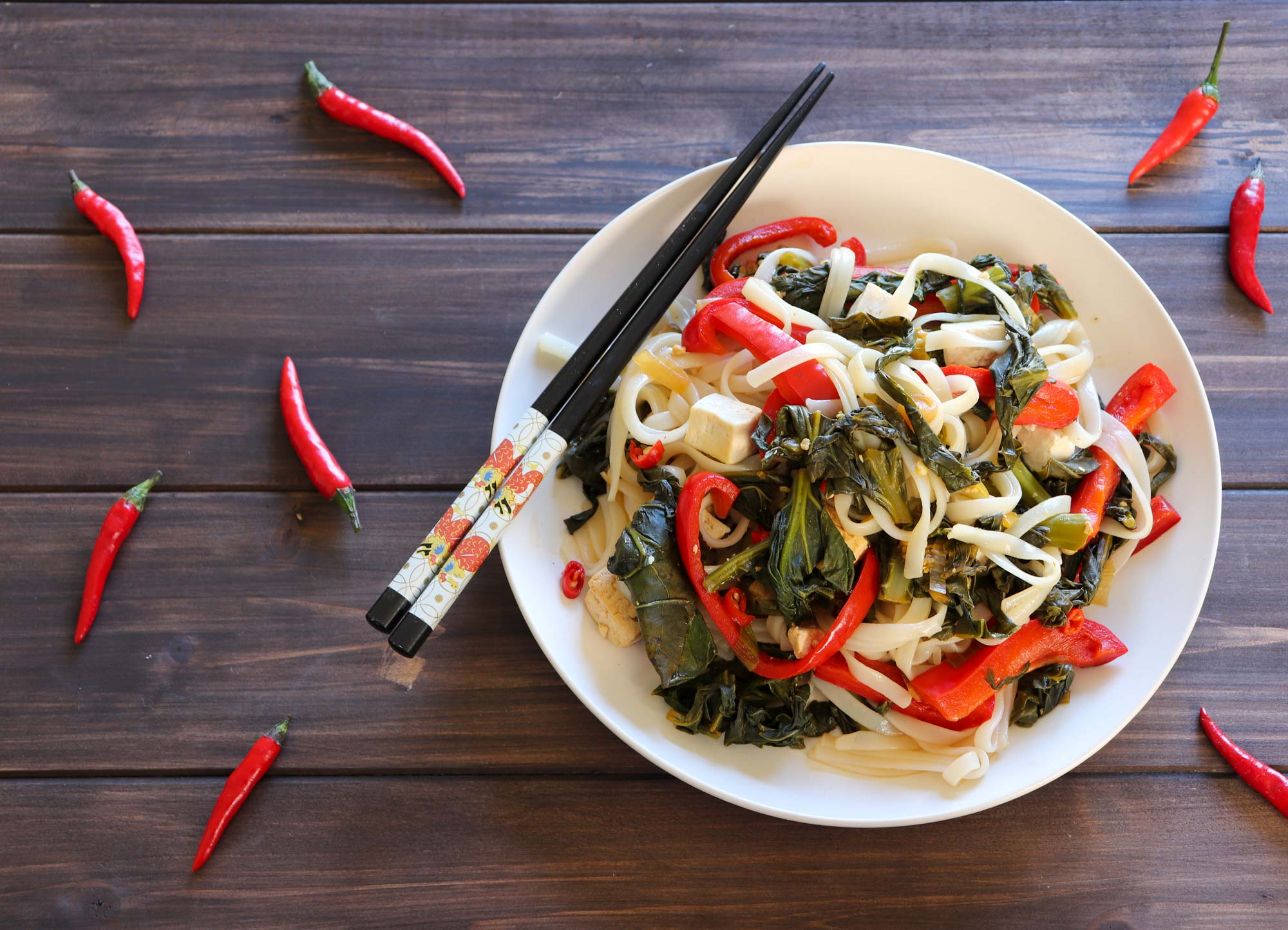drunken noodles in a bowl