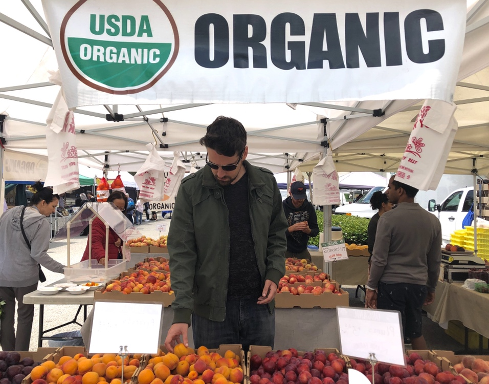Man picks out organic produce at farmers' market