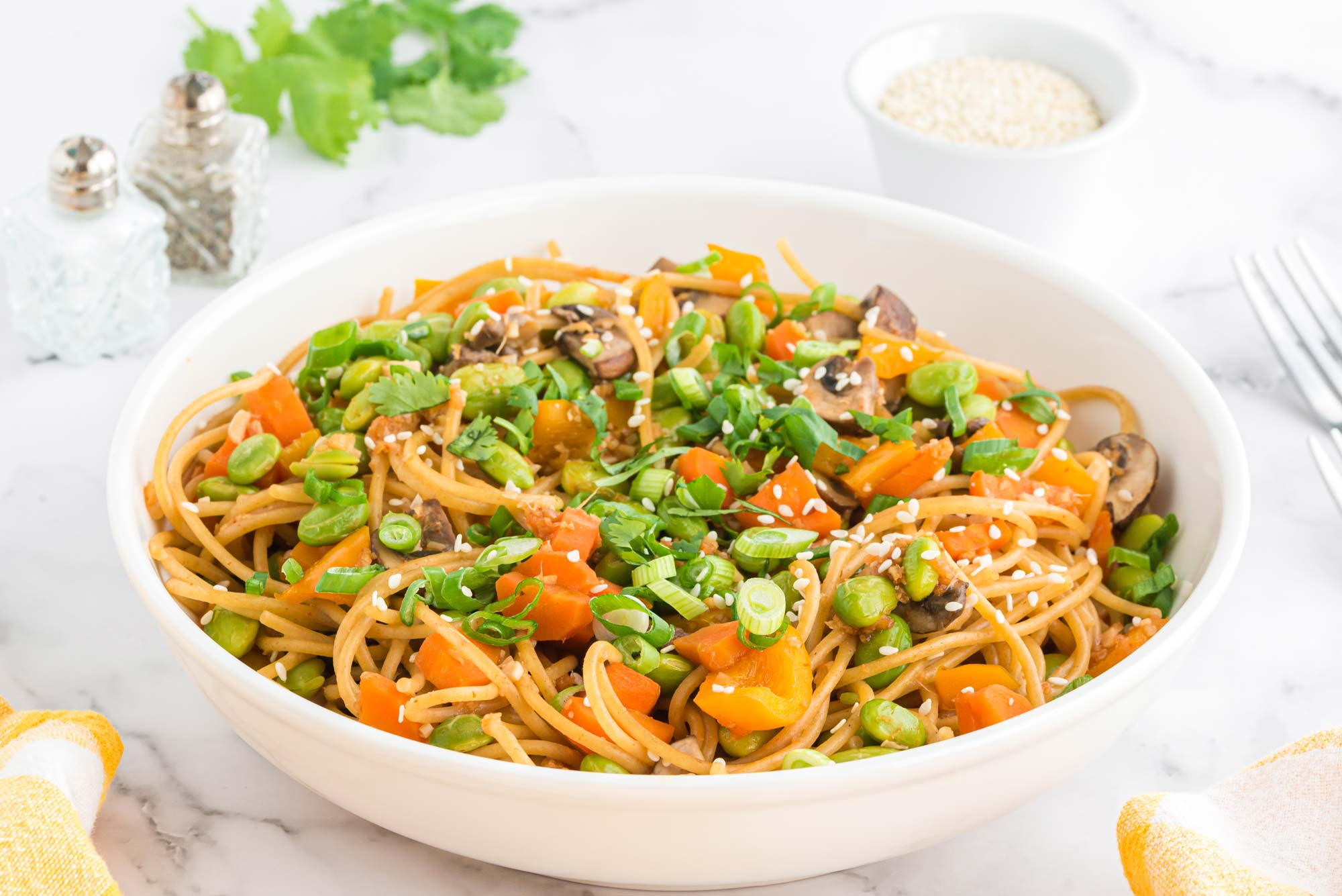 Ginger carrot edamame noodles - Anxiety self help recipe