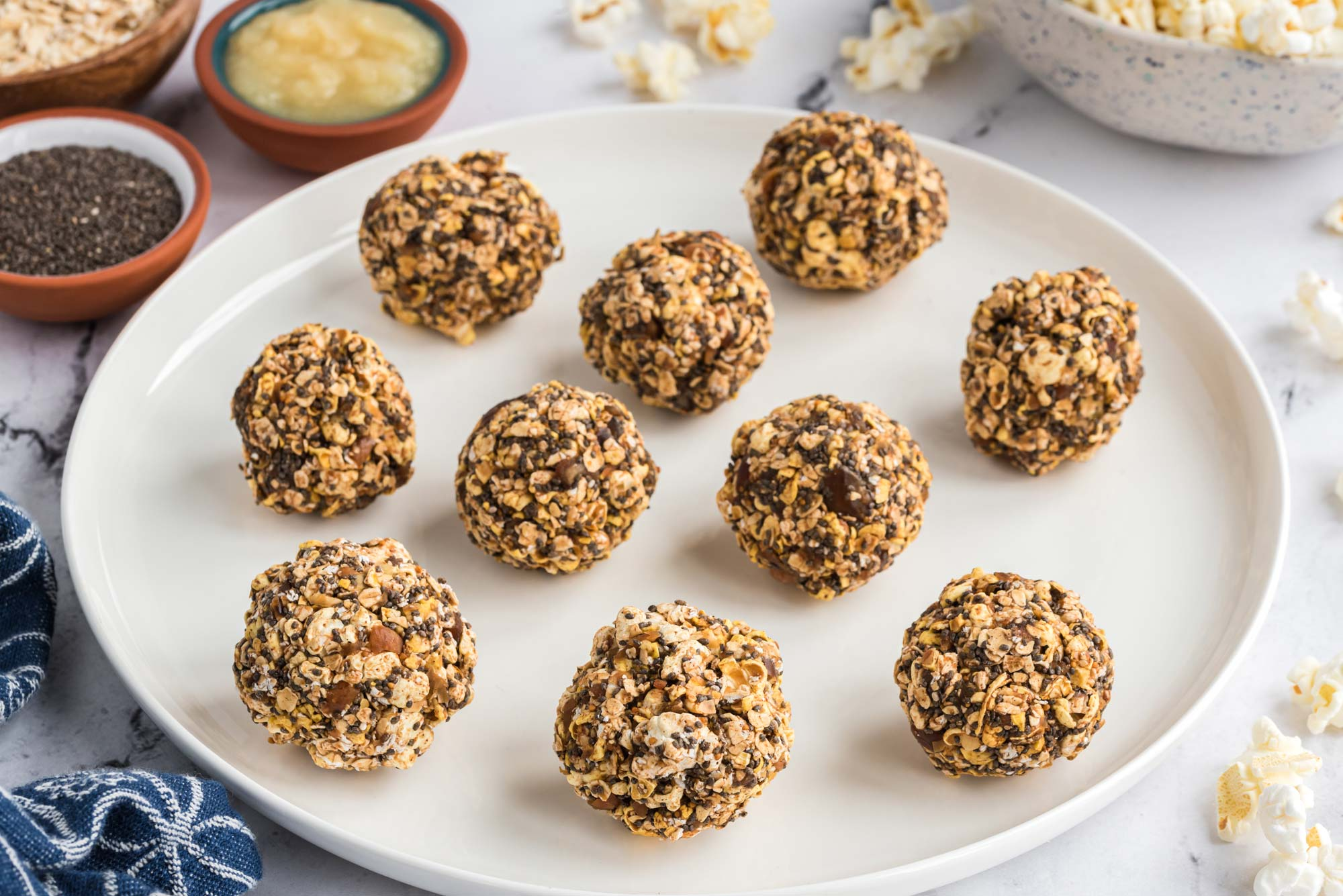 healthy popcorn balls on a plate