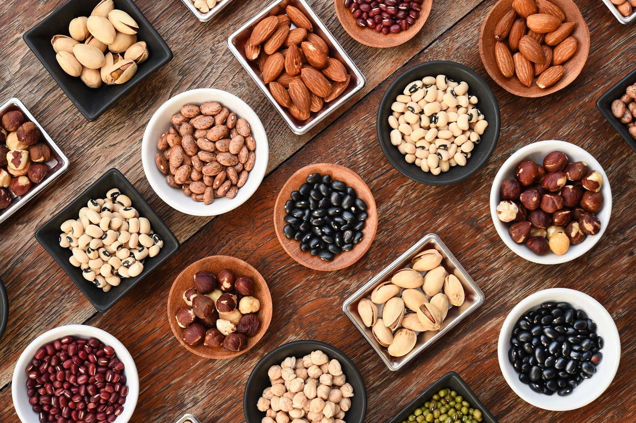Foods high in phytic acid: nuts and legumes