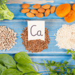 Calcium rich plant foods on a table