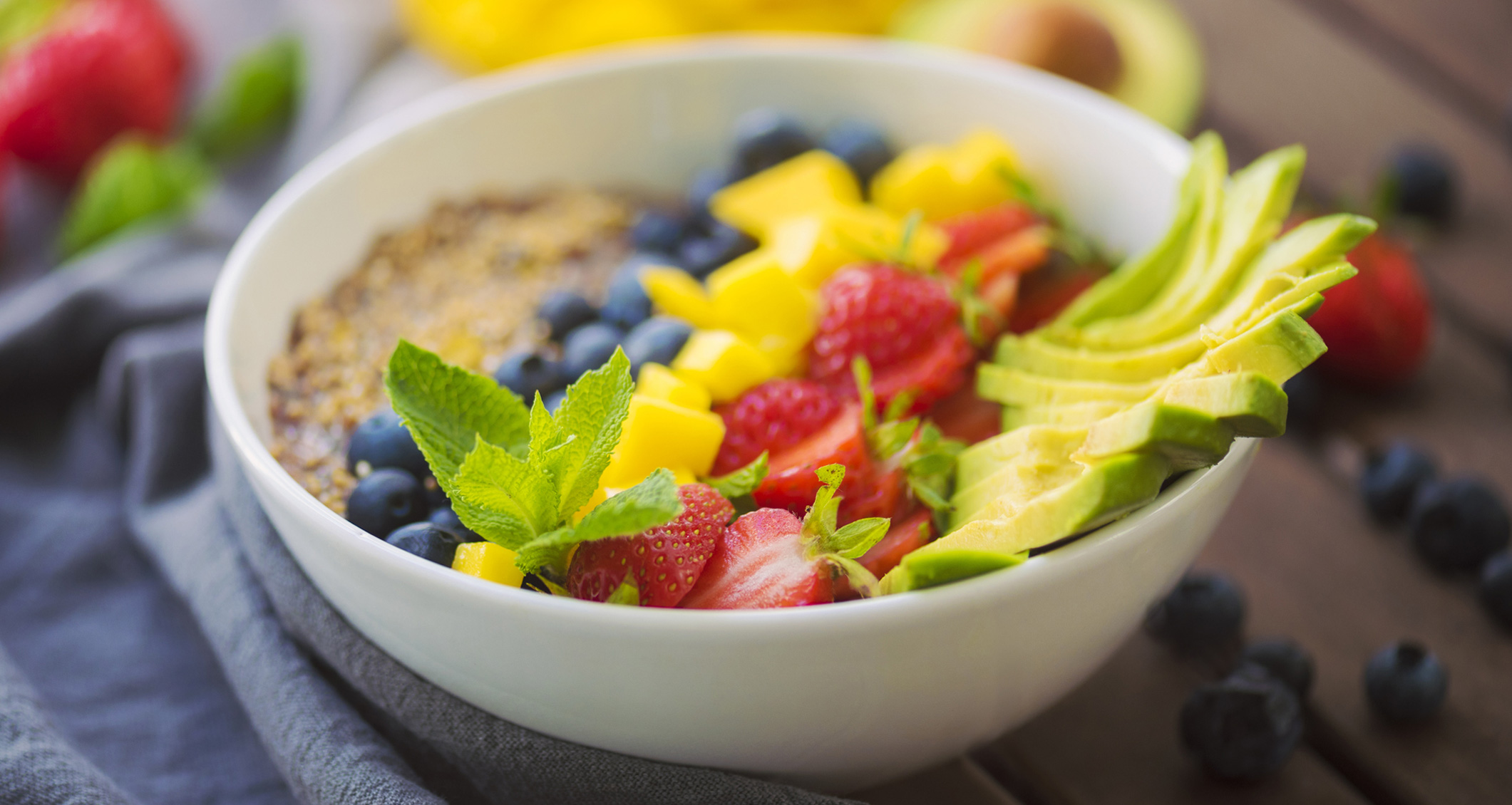 A bowl of colorful plant-based foods