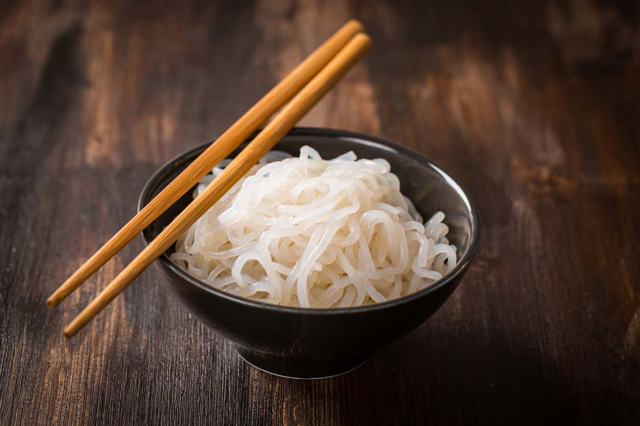 Shirataki noodles in bowl