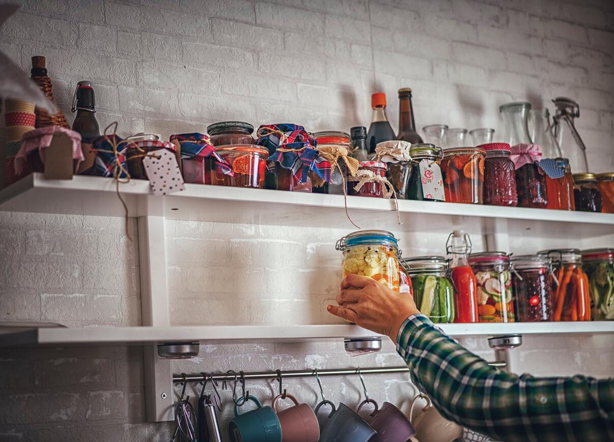 Fermented foods on shelf