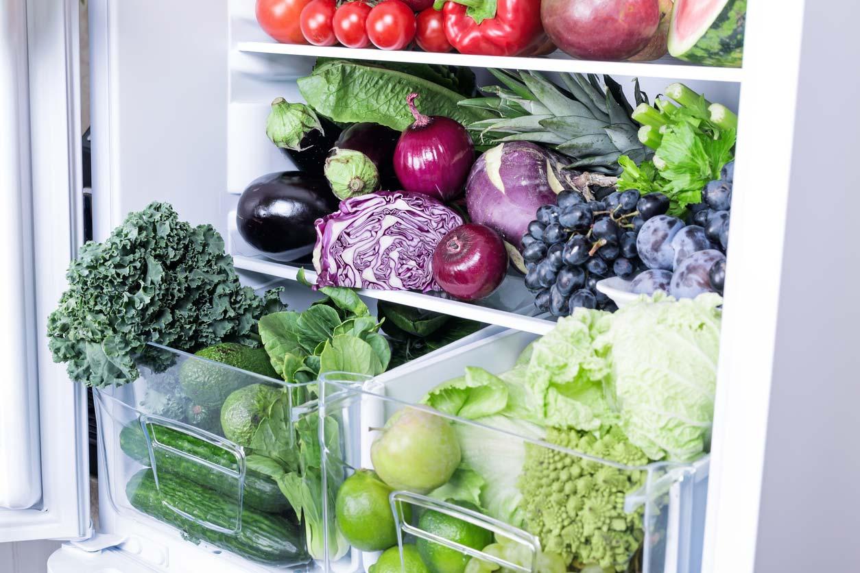 fresh produce in fridge
