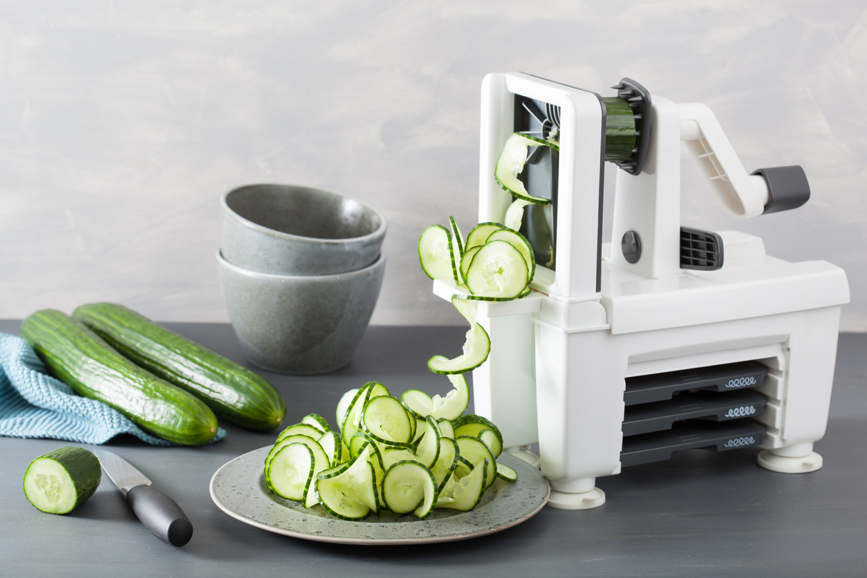 Spiralizing cucumber with a spiralizer
