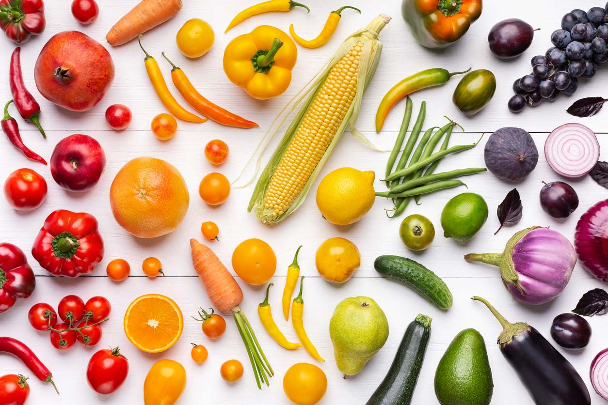 A rainbow of raw fruits and veggies