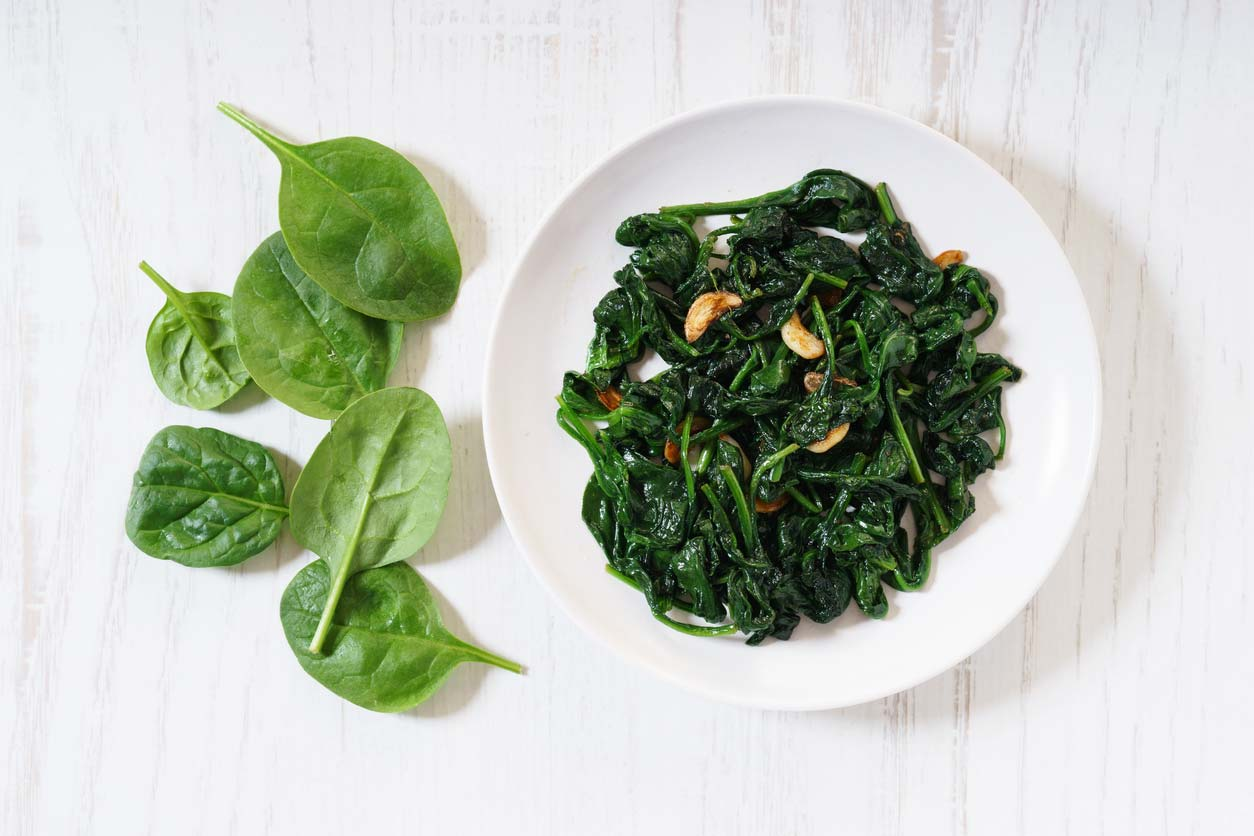 Raw vs cooked spinach