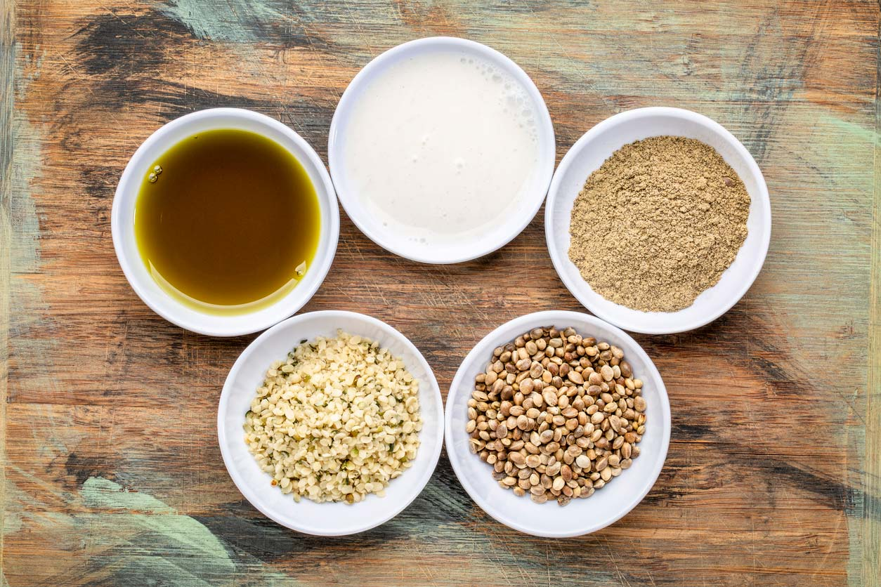 Hemp food products in dishes