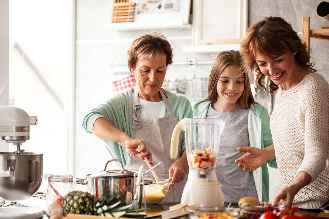 family making healthy meal together