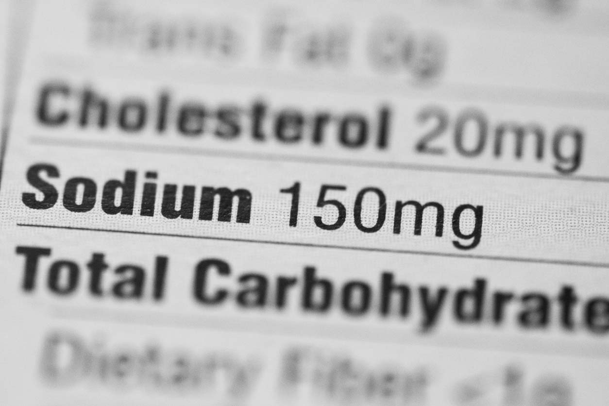 Sodium facts: Nutrition label with sodium in focus