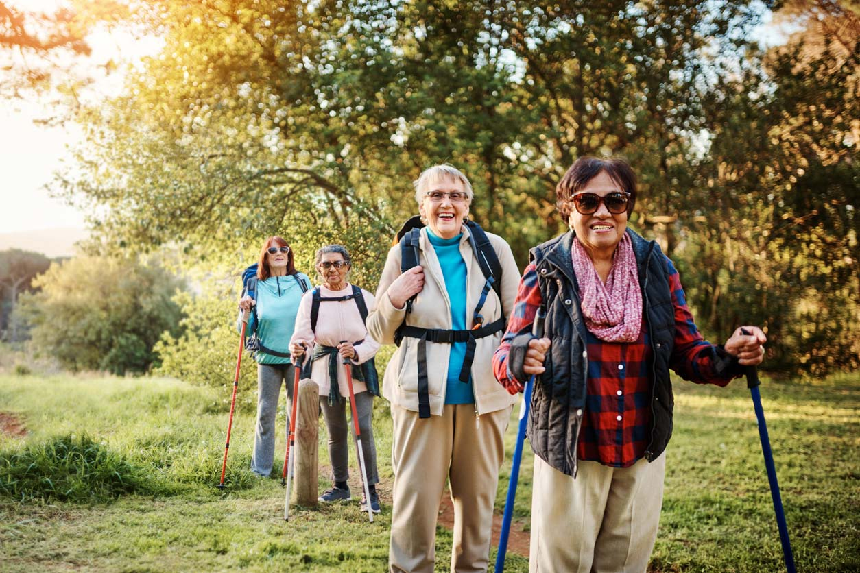 Elderly people hiking