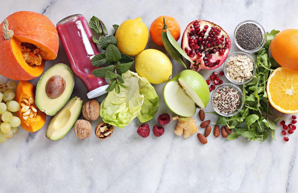 Seasonal healthy plant based food cooking ingredients