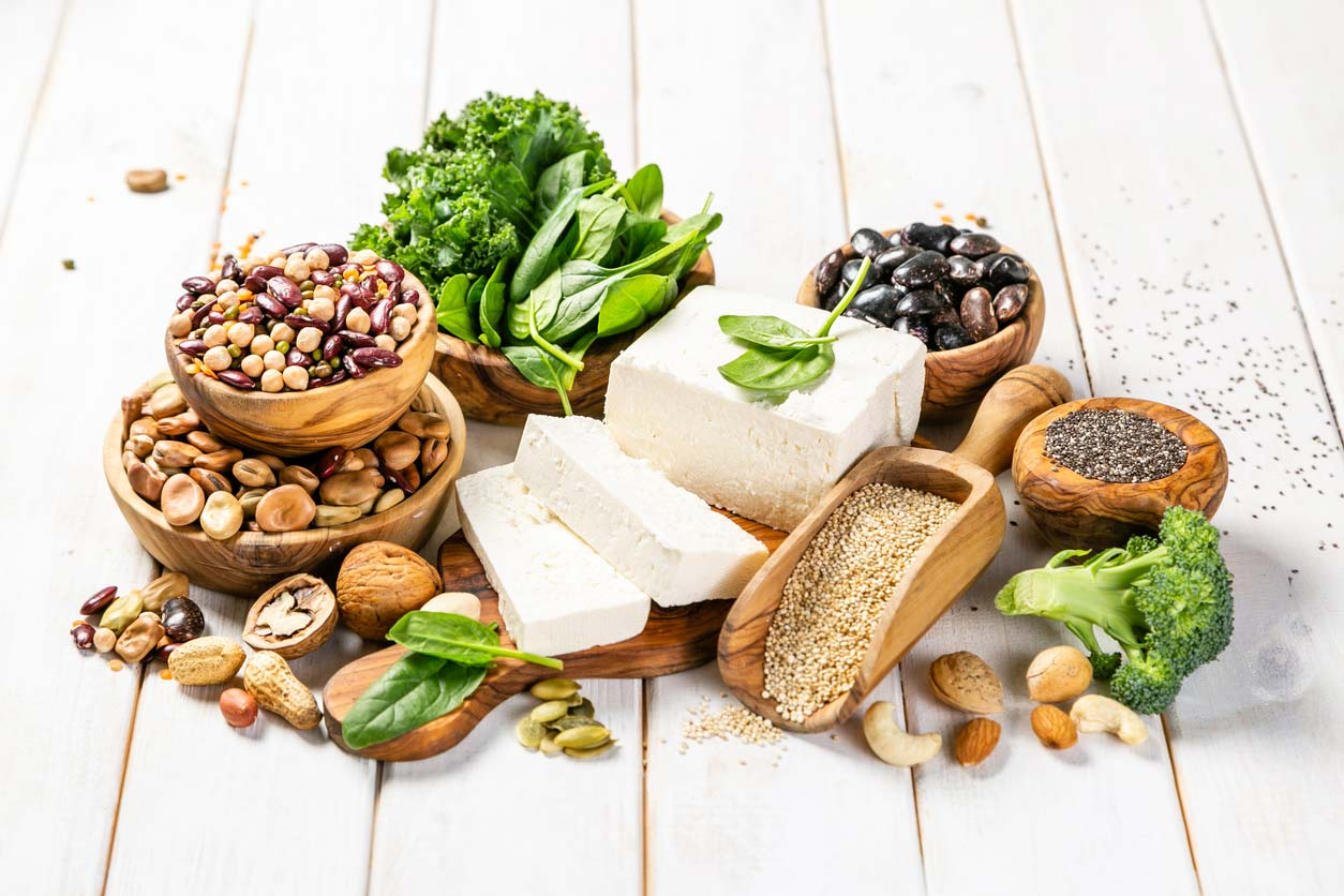 collection of oxalate-rich plant-based proteins on table