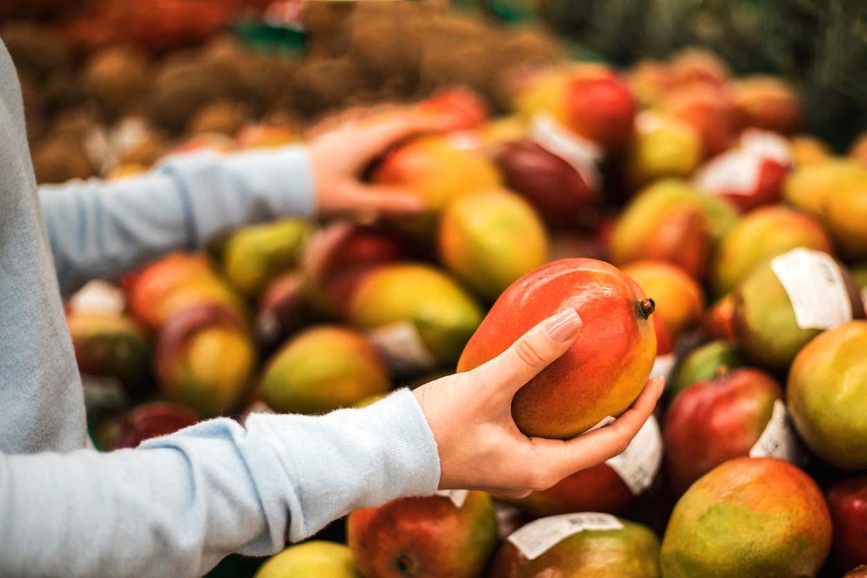 young woman choosing fresh mango in market