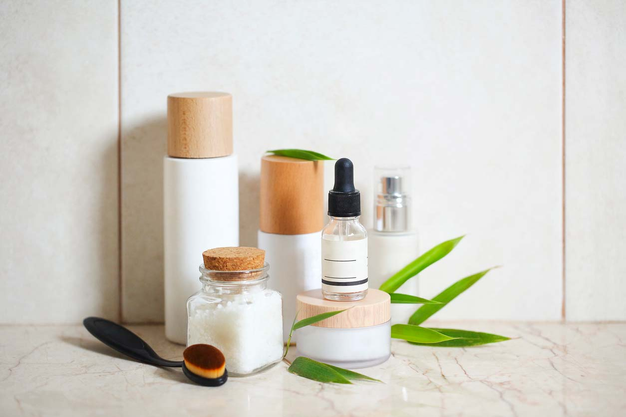 Sustainable gift ideas for the holidays - natural health and beauty products on counter