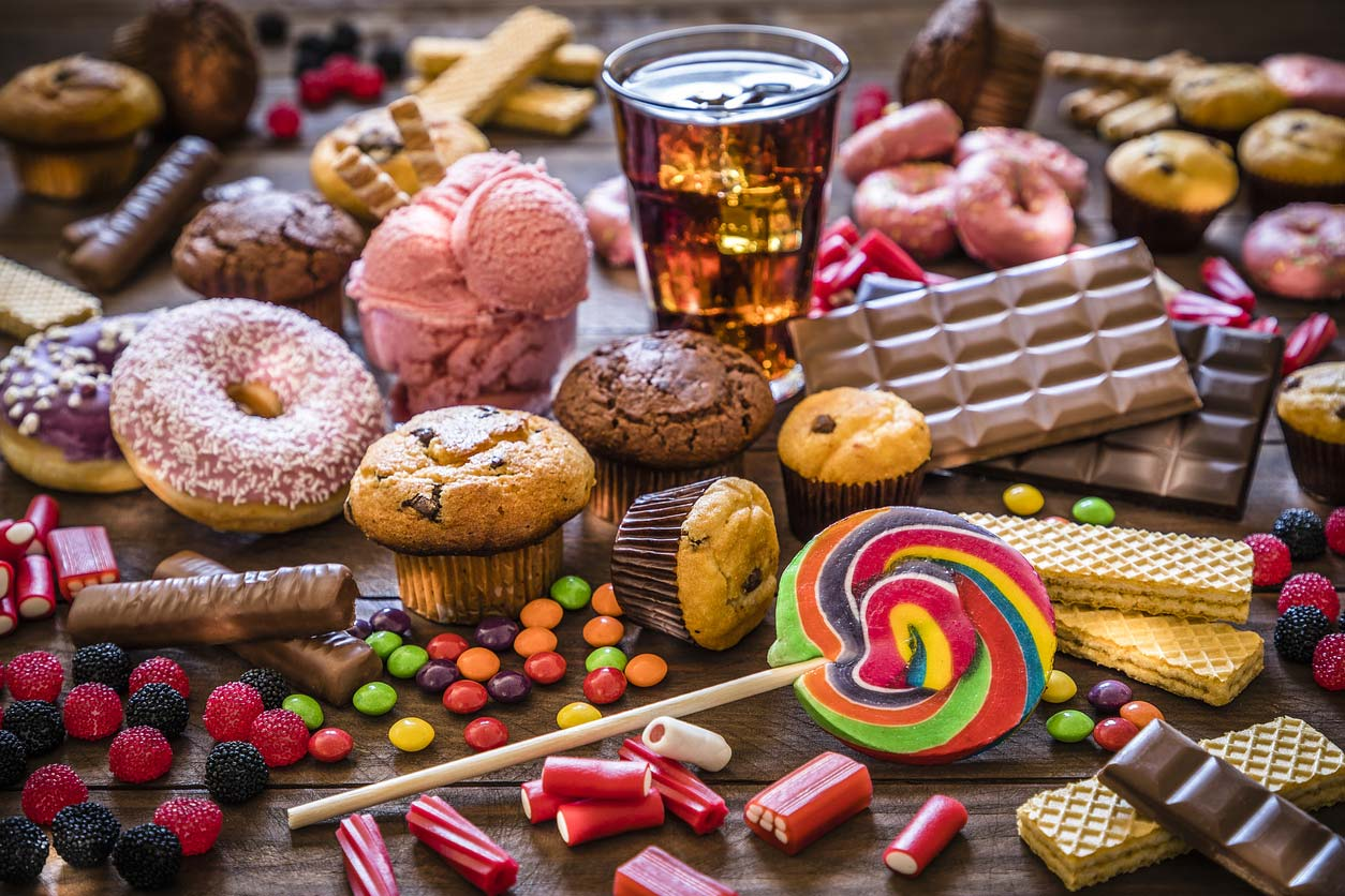 variety of unhealthy sugary foods