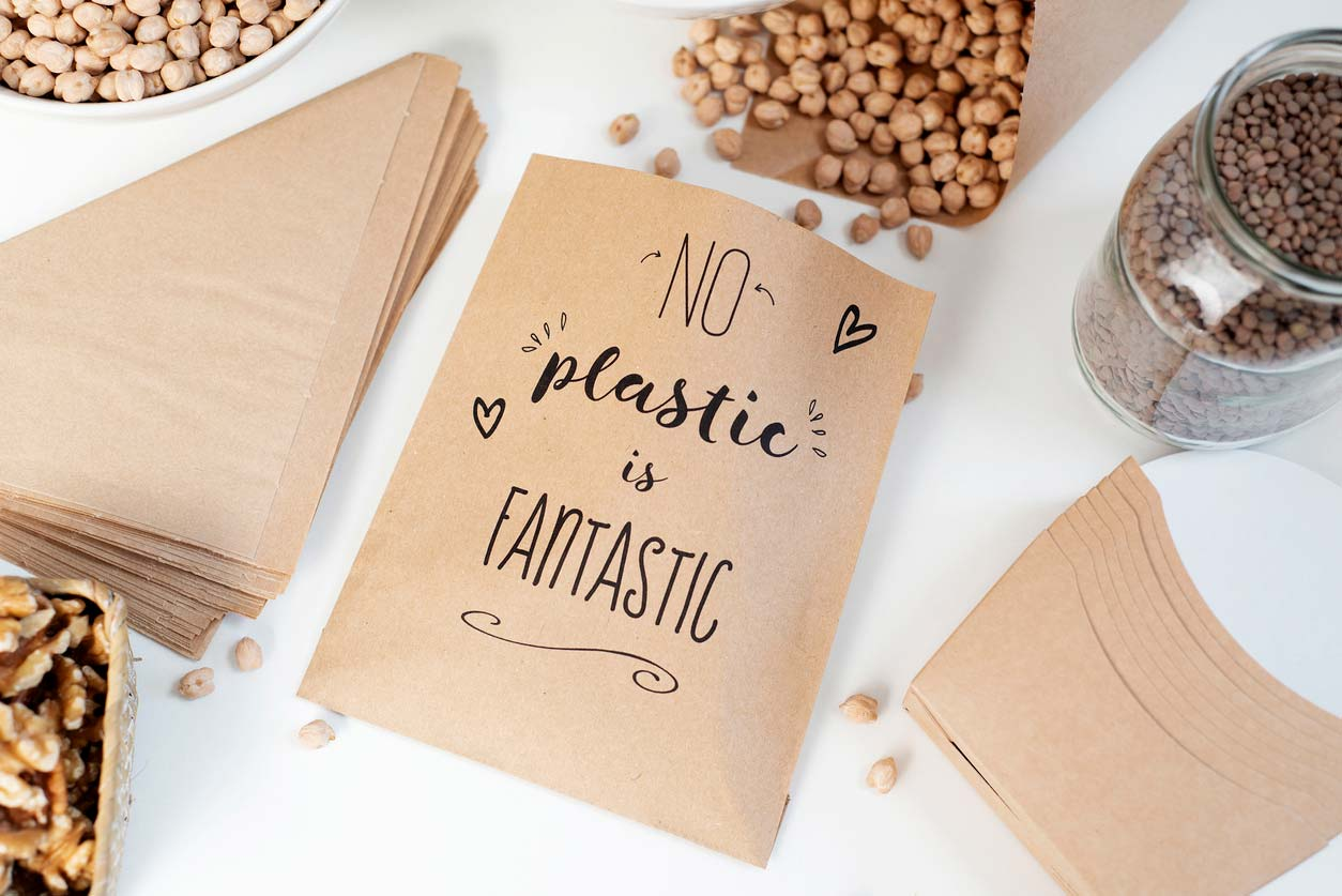 No plastic is fantastic paper bags