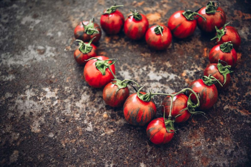 heirloom tomatoes in shape of heart